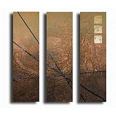 @Overstock - Add creativity and depth to your family room with this beautiful contemporary canvas art. The artwork is large enough to easily fit over a large sofa to create a modern backdrop. The brown colors will add a warm look to any size family room.http://www.overstock.com/Home-Garden/Walk-the-Lines-Canvas-Art/3644855/product.html?CID=214117 $139.99