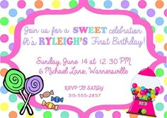 Birthday Invitation • Candy Theme • Free economy shipping • Fast turnaround time • Great customer service • These birthday invitations are custom, high resolution digital files that are personalized for each customer upon order