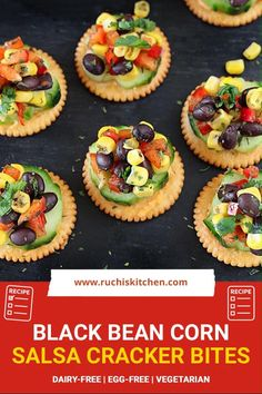 Get ready for the holiday celebrations with these No-cook Black Bean Corn Salsa Cracker Bites. Piled high with colorful ingredients, these bites are a must-have delicacy for your holiday gathering. #nocookappetizer #ritzcrackerappetizer #holidaysnacks #nocooksnacks