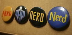"""One 1.5"""" Nerd Pin back button, choose from Zelda, Doctor Who, Star Trek or Harry Potter style nerds!  $1.25  #zelda  #startrek  #nerd  #doctorwho  #harrypotter"""