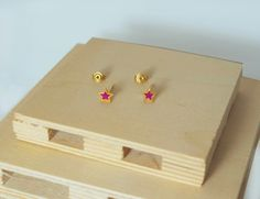 Excited to share the latest addition to my #etsy shop: Star earrings, Stud earrings, Enamel earrings, Fuchsia, stars, Sterling silver 925, Gold plated, Pink, light blue, colourful, burgundy red http://etsy.me/2jzbCxk