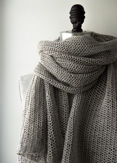 Open air wrap in Linen Quill - free pattern from Purl Soho with only one repeating line - quick knit for a summer wedding...