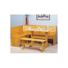 Kitchen Nook Corner Bench Table Set Booth Dining Breakfast Chair Solid Wood #EssentielHome