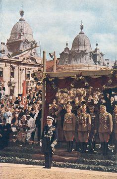 Horthy Miklós a katonai szemlén.1942. Kolozsvár. Budapest, Tiger Tank, Military Figures, Defence Force, Military History, Homeland, Ww2, World War, Famous People