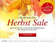 #Herbstdeko #SALE Nur für kurze Zeit! Sparen Sie bis zu 85%! Nur solange der Vorrat reicht. #Deko #Dekoration http://shop.decowoerner.com/cgi-bin/WebObjects/XSeMIPS.woa/cms/page/locale.deDE/pid.4746/mlid.2016/NL-2016-10-04-Super-Herbst-SALE-AI.html