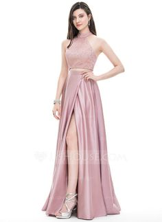 A-Line/Princess Scoop Neck High Neck Floor-Length Satin Prom Dress With Split Front Affordable Prom Dresses, Trendy Dresses, Simple Dresses, Short Dresses, Fashion Dresses, Wedding Party Dresses, Bridesmaid Dresses, Dress Prom, Prom Long
