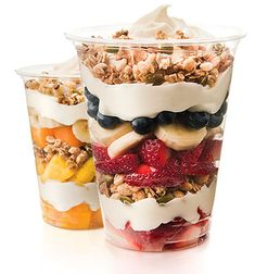 yogurt parfait in a clear plastic cup - Google Search