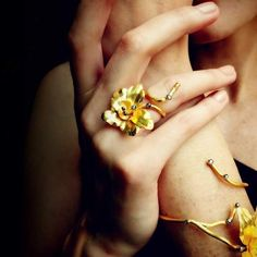 """""""Orchid"""" 18K Gold Flower Ring"""