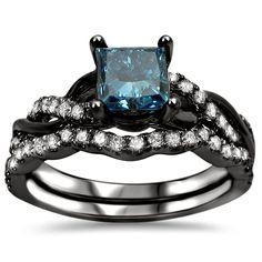 Noori 14kBlack Rhodium-plated 1 1/5ct. TDW Blue Certified Diamond Engagement Ring Set (SI1-SI2) (Size-