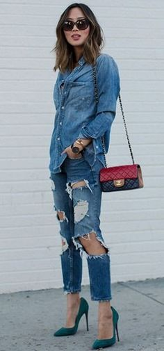 Denim Shirt and Ripped Denim Jeans | Song of Style