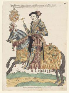 Hans Liefrinck (I)   Portret van Filips II te paard, Hans Liefrinck (I), 1543 - 1544   Filips II (1527-1598), zoon en opvolger van Karel V, geboren in Spanje, voor het eerst in de Nederlanden in 1549 bij zijn feestelijke intrede in Antwerpen. Ruiter in harnas op een gepantserd paard in galop naar links. Zijn wapen met de Orde van het Gulden Vlies linksboven.