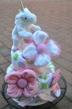 Items similar to Unicorn and Flower Two Tier Diaper Cake for Girls on Etsy Baby Shower Desserts, Baby Shower Cupcakes, Baby Shower Favors, Baby Shower Invitations, Baby Shower Gifts, Candy Boquets, Nappy Cakes, Baby Shower Backdrop, Pony Party