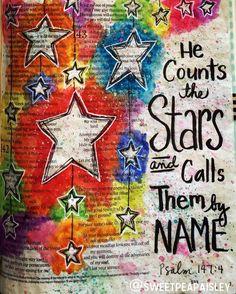 Got to do Bible Art today with friends!#biblejournaling #psalm147 #bibleart #scriptureart #bible #scripture #biblejournalingcommunity #stars by sweetpeapaisley