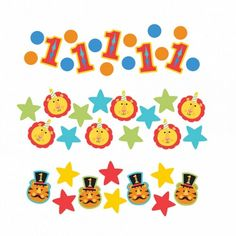 Circus 1st Birthday Party Table Confetti - Three bags of Fisher-Price fun and colourful 1st Birthday Circus themed table confetti, perfect for celebrating that all important milestone! Turning One is a big deal and a perfect opportunity to have a party, for both the babies and the adults! This fun and colourful, circus themed table confetti is the perfect addition to your festivities, whether you're celebrating a birthday a little boy or girl. #circus #circusparty #1stbirthday #tableconfetti
