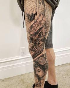 707006236f6ce Asian Tattoos, Dope Tattoos, All Tattoos, Body Art Tattoos, Dragon Tattoo  Leg