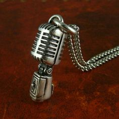 Vintage mic pendant and necklace