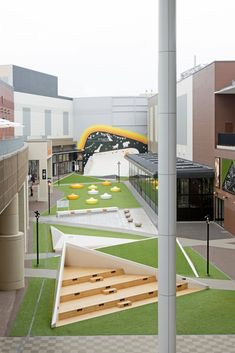 hinata TERRACE STGK Inc photography by Takahiro Shimizu is part of Paving design - Urban Garden Design, Urban Design, Miyazaki, Landscape Architecture Design, School Architecture, Landscape Plaza, Hinata, Design D'espace Public, School Building Design