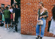 Irina Lakicevic in a Dries van Noten shirt and Off-White jeans