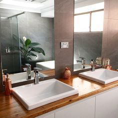 Modern bathroom with recycled timber vanity top