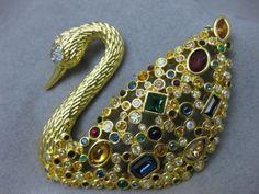 Swarovski Multicolored Swan Pin