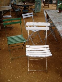 Vintage French Folding Bistro Metal and Wood Slat ChairsOutdoor