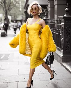 Micah Gianneli - Hello yellow Dress from @toxicenvy_boutique [coat is faux fur] ✨