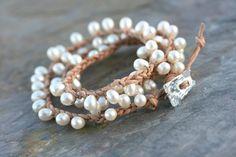 Dancing Pearls leather wrap bracelet by LibertyOriginals on Etsy