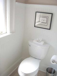 whole wall in beadboard w crown molding bathrooms pinterest moldings - Bathroom Beadboard