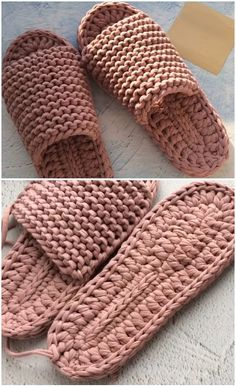 Crochet quick and comfortable slippers - Places Like Hea .- Häkeln Sie schnelle und bequeme Hausschuhe – Places Like Heaven Crochet Fast And Comfortable Slippers Crochet quick and comfortable slippers – we love crochet - Crochet Crafts, Crochet Yarn, Crochet Stitches, Crochet Patterns, Crochet Ideas, Fast Crochet, Knitting Patterns, Crochet Shoes Pattern, Ravelry Crochet