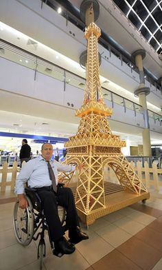Eiffel Tower made totally out of matchsticks