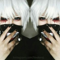 Why is it that the beautiful things are entwined more deeply with death than with life? Cool Costumes, Halloween Costumes, Ken Anime, Cosplay Makeup, Anime Cosplay, Tokyo Ghoul Cosplay, Best Cosplay, Awesome Cosplay, Kaneki