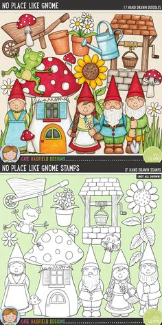 Garden gnome digital scrapbooking elements | Cute gnome & garden clip art | Hand-drawn clip art and line art for digital scrapbooking, crafting and teaching resources from Kate Hadfield Designs!
