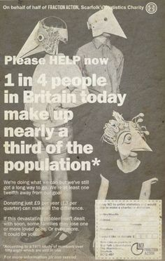 """Scarfolk Council: """"Fraction Action"""" Charity Newspaper Ad (1972)"""