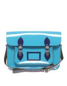 ASOS Cambridge patent turquoise satchel, €157.44