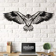Eagle Metal Wall Art , Unique Gifts for New Interior Decoration Metal Wall Art – Eagle – Gifts for New Homes – Interior Decoration – Steel Art – Geometric Style – Drawing – Nature – Symbol of Freedom Metal Wall Decor, Home Decor Wall Art, Deco Wall, Nature Symbols, Laser Art, Steel Art, Geometric Wall, Wall Art Designs, Metal Walls