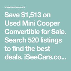 Save $1,513 on Used Mini Cooper Convertible for Sale. Search 520 listings to find the best deals. iSeeCars.com analyzes prices of 10 million used cars daily. Mini Cooper Models, Used Mini Cooper, Large Suv, Small Suv, Gloucester City, Mini Cooper Convertible, Mid Size Suv, Car Deals, Market Price