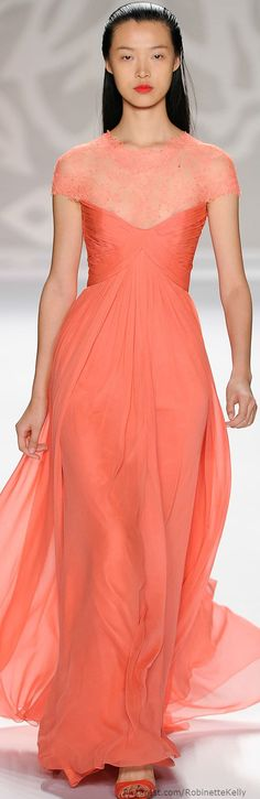 Monique Lhuillier | S/S 2014 - Coral, a softer shade of orange