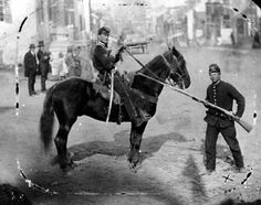 An unidentified member of the First Delaware Cavalry sits calmly on horseback along Main Street in Westminster unaware his unit will soon be engaged in combat with advance elements of J.E.B. Stuart's Confederate cavalry on June 29, 1863. From the Gil Barrett Collection, U.S. Army Military History Institute.