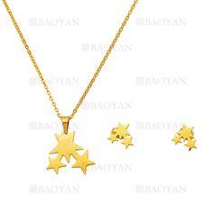 juego collar y aretes de estrellas dorado en acero quirurgico-SSNEG504220