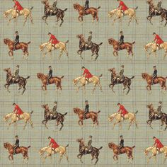 Running Horses Print Cotton Linen Look Fabric
