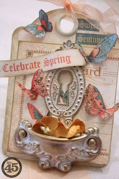 """A close-up of Denise Hahn's """"Celebrate Spring"""" Sweet Sentiments ATC #graphic45"""