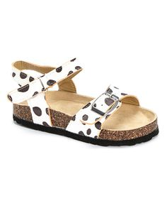 This Spoiled Angel Kids White & Brown Cow Slingback Sandal by Spoiled Angel Kids is perfect! #zulilyfinds