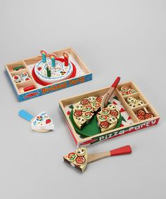 Chefs-to-be get a head start on creating culinary concoctions with this food set. Constructed from durable materials and featuring Velcro for realistic crunch and chopping sounds, the pizza party set lets darling dicers prep a perfect pie, while the plentiful toppings and stackable options in the  birthday party set satisfy a sweet tooth every time! Includes Pizza Party and Birthday Party se...