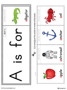 Short Letter A Beginning Sound Flipbook Printable (Color) Worksheet.The Letter A Beginning Sound Flipbook in Color is the perfect tool for learning and practicing to recognize the letter A and it's beginning sound. Preschool Phonics, Phonics Flashcards, Jolly Phonics, Phonics Worksheets, Preschool Learning, Letter A Preschool, Letter Activities, Teaching, Letter A Words