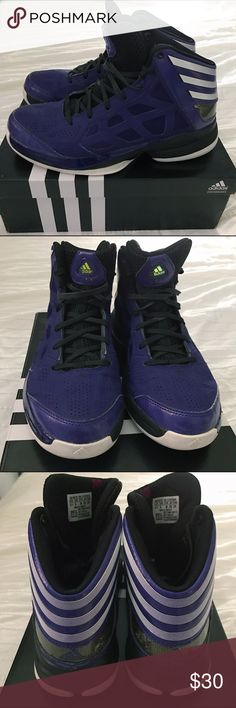 ADIDAS CRAZY SHADOW BASKETBALL SHOES Adidas Crazy Shadow basketball shoes size 5 1/2 in Male but they also fit 5 1/2 women. These are unisex. They are purple with white stripes. These were ONLY used INDOORS! They're clean and in good condition. Comes in original box as shown. Feel free to make an offer. **NO RETURNS!! Adidas Shoes Athletic Shoes