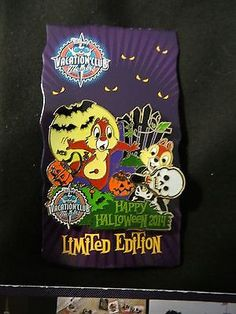 DISNEY Parks Authentic DVC CHIP AND DALE HALLOWEEN HOLIDAY LE RARE HTF PIN