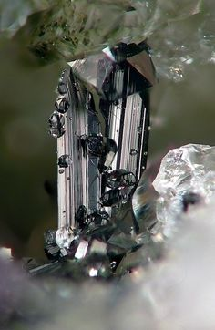 Ferberite with Quartz (by smulaxx) #Ferberite with Quartz Ferberite is the iron endmember of the manganese - iron wolframite solid solution series. The manganese endmember is hübnerite. Ferberite is a black monoclinic mineral composed of iron(II) tungstate, FeWO₄. Read More : http://en.wikipedia.org/wiki/Ferberite and http://rruff.info/doclib/hom/ferberite.pdf