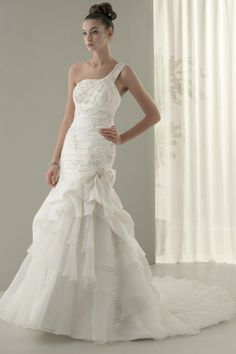One Shoulder Trumpet Wedding Dress of 2011 MBD7539 Organza and Royal Taffeta beaded gown features one shoulder strap with an asymetrical lay...