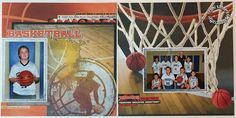 2 page scrapbook layout made using THE BASKETBALL COLLECTION by REMINISCE www.designsbyreminisce.com sports photos, sports layout,basketball scrapbook,scrapbook layout,2 page layout,tami sanders