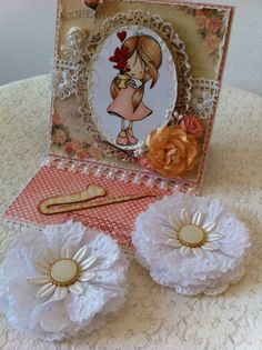 easel card w.handmade flowers